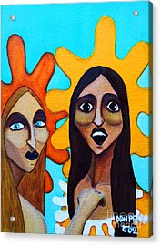 Acrylic Print featuring the painting Girls Caught In Fraganti by Don Pedro De Gracia