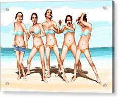 Girls Dancing At The Beach Acrylic Print by Leo Malboeuf