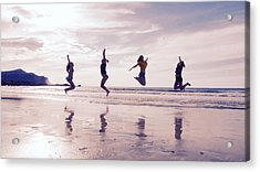 Girls Jumping On Lofoten Beach Acrylic Print by Tamara Sushko