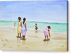 Girls On The Beach Acrylic Print by Patricia Piffath
