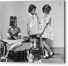 Girls Playing Fashion Designers, C.1930s Acrylic Print by H. Armstrong Roberts/ClassicStock