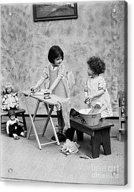 Girls Washing Doll Clothes, C.1920s Acrylic Print by H. Armstrong Roberts/ClassicStock