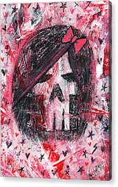 Girly Scene Skull Acrylic Print by Roseanne Jones