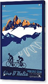 Acrylic Print featuring the painting Giro D'italia Cycling Poster by Sassan Filsoof