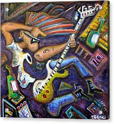Give Em The Boot - Punk Rock Cubism Acrylic Print by Jason Gluskin