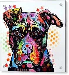 Give Love Pitbull Acrylic Print by Dean Russo