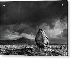 Glacial Erratic And Ingleborough Acrylic Print