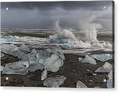 Acrylic Print featuring the tapestry - textile Glacial Lagoon Iceland 2 by Kathy Adams Clark