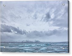 Acrylic Print featuring the tapestry - textile Glacial Lagoon Iceland by Kathy Adams Clark