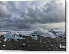 Acrylic Print featuring the tapestry - textile Glacier Ice 2 by Kathy Adams Clark