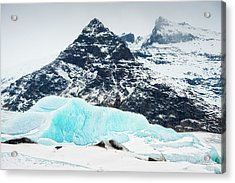 Acrylic Print featuring the photograph Glacier Landscape Iceland Blue Black White by Matthias Hauser