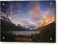 Glaciers Surround Saint Mary Lake Acrylic Print by Michael Melford