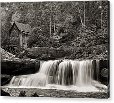 Glade Creek Grist Mill Monochrome Acrylic Print by Chris Flees