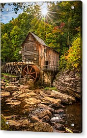 Acrylic Print featuring the photograph Glade Creek Mill Fall by Rebecca Hiatt