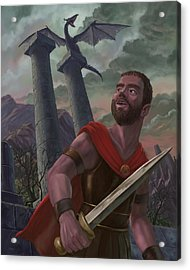 Gladiator Warrior With Monster On Pillar Acrylic Print by Martin Davey