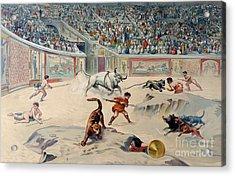 Gladiators Fighting Animals In The Circus At Pompeii Acrylic Print