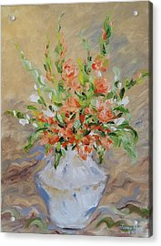Acrylic Print featuring the painting Gladiolas by Judith Rhue