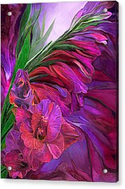 Acrylic Print featuring the mixed media Gladiolus In Red by Carol Cavalaris