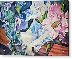 Glads On The Deck Acrylic Print by June Conte  Pryor