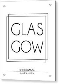 Glasgow City Print With Coordinates Acrylic Print