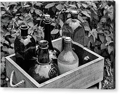 Glass Bottles In The Garden Acrylic Print