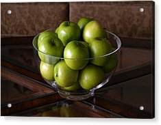 Glass Bowl Of Green Apples  Acrylic Print by Michael Ledray