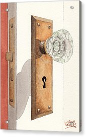 Glass Door Knob And Passage Lock Revisited Acrylic Print by Ken Powers