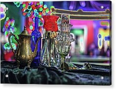 Glass In The Frame Of Colorful Hearts Acrylic Print by Kenneth James