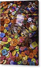Glass Jar Spilling Buttons Acrylic Print