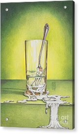 Glass With Melting Fork Acrylic Print by Melissa A Benson