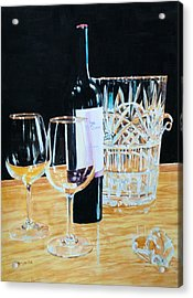 Glass Wood And Light And Wine Acrylic Print by Mary Lou Hall