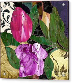 Glassberry Stained Glass Rose Acrylic Print by Mindy Sommers