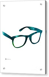 Glasses Silhouette  Watercolor Art Print Poster Acrylic Print by Joanna Szmerdt