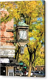 Acrylic Print featuring the painting Glen Ellyn Corner Clock by Christopher Arndt