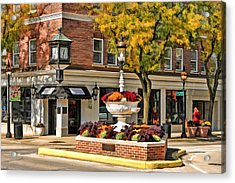 Acrylic Print featuring the painting Glen Ellyn Watering Fountain by Christopher Arndt