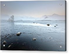 Acrylic Print featuring the photograph Glencoe Frozen Misty Winter Sunrise by Grant Glendinning