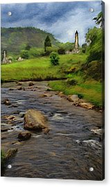 Acrylic Print featuring the painting Glendalough In The Distance by Jeff Kolker
