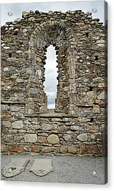 Glendalough Irish Monastic Site Cathedral Of Saints Peter And Paul Window Wicklow Acrylic Print by Shawn O'Brien