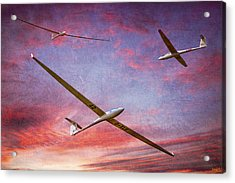 Gliders Over The Devil's Dyke At Sunset Acrylic Print
