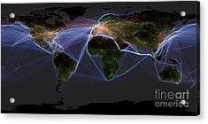 Global Transportation Map Acrylic Print by Felix PD and Globaia