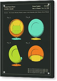Globe Chair Patent 1968 Acrylic Print by Jazzberry Blue
