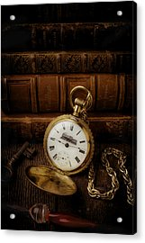 Glod Train Pocket Watch Acrylic Print by Garry Gay