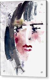 Acrylic Print featuring the painting Gloomy Woman  by Faruk Koksal