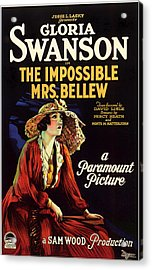Gloria Swanson In The Impossible Mrs Bellew 1922 Acrylic Print