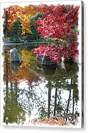 Glorious Fall Colors Reflection With Border Acrylic Print by Carol Groenen