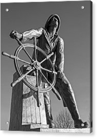 Gloucester Fisherman's Memorial Statue Black And White Acrylic Print