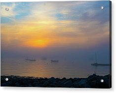 Gloucester Harbor Foggy Sunset Acrylic Print