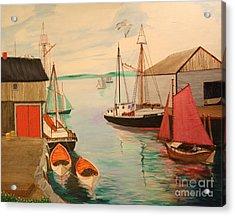 Gloucester Harbor - Mackerel Seiners 1933 Acrylic Print