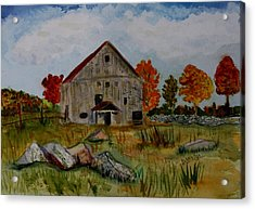 Acrylic Print featuring the painting Glover Barn In Autumn by Donna Walsh