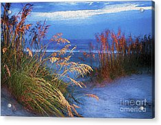 Acrylic Print featuring the digital art Glowing Dunes Before Sunrise On The Outer Banks Ap by Dan Carmichael